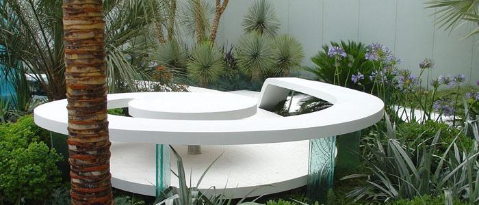 Corian fixings used in garden display